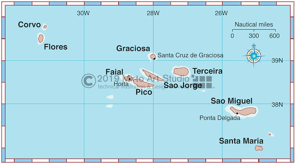 Vector map of Azores
