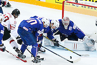 Laurent Meunier / Nicolas Besch / Cristobal Huet - 03.05.2015 - France / Suisse - Championnat du Monde de Hockey sur Glace -Prague <br />Photo : Xavier Laine / Icon Sport