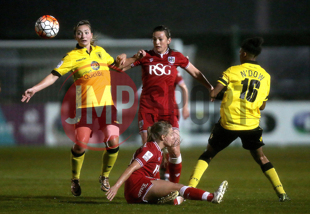 Chloe Arthur and Olivia Fergusson of Bristol City Women challenge Maddy Cusak and Elisha N'Dow of Aston Villa Ladies - Mandatory by-line: Robbie Stephenson/JMP - 02/01/2012 - FOOTBALL - Stoke Gifford Stadium - Bristol, England - Bristol City Women v Aston Villa Ladies - FA Women's Super League 2