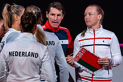 Team Netherlands with Demi Schuurs, Indy de Vroome, Lesley Pattinama Kerkhove, Arantxa Rus, Kiki Bertens and Paul Haarhuis in action in the match against Belarus in the Fed Cup qualifier against Belarus.