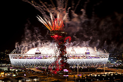 © Licensed to London News Pictures.12/08/2012 LONDON UK.Fireworks celebrate end on what has been discribed as one of the most successful Olympic Games in recent times. With Great Britain finishing third overall in the medals table with a total of 29 Golds,17 Silver and 19 Bronze medals and the ceremony of the London2012 Olympic Games Photo credit : Andrew Baker/LNP