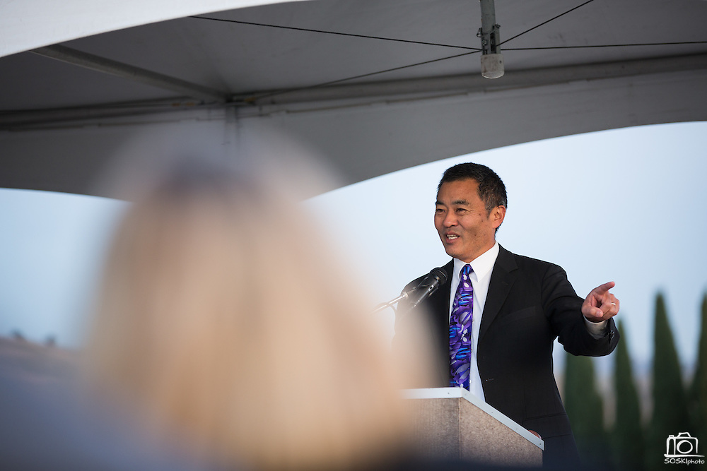 MUSD Superintendent Cary Matsuoka presents during the Milpitas Unified School District and San Jose Evergreen Community College District Community College Extension Ground Breaking Ceremony near Russell Middle School in Milpitas, California, on November 17, 2015. (Stan Olszewski/SOSKIphoto)