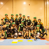 Columbus, OH - Ohio Roller Girls, Gang Green team photo. .Angla Vyle #1066.Electra Magneto #VOLT (A2).TactiGal #C4.Bigg Rigg #815.Nicold N Deadly #2011.Paige Bleed #0125.Wayman #10.Blitz Lemon #22 ...Pittsburgh, PA, Steel Hurtin' VS. the Ohio Roller Girls All Stars..Pittsburg PA Steel Beamers VS. Ohio Roller Girls Gang Green ..6 April 2013: at Louche Building - Ohio Expo Center in Columbus, Ohio. Dorn Byg/Byg Day LLC