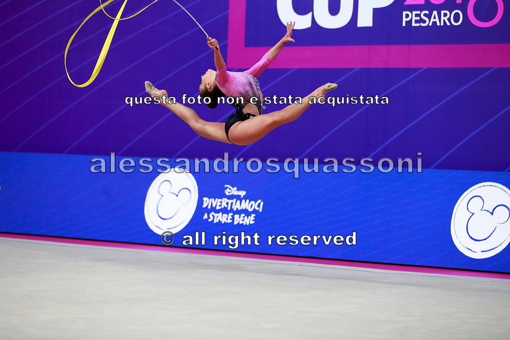 Taseva Katrin during the qualification of ribbon at the Pesaro World Cup 2018. Katrin  is a Bulgarian gymnast born in Samokov on November 24, 1997. She is a member of the Bulgarian National team since 2010.