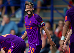 BIRKENHEAD, ENGLAND - Tuesday, July 10, 2018: Liverpool's captain Adam Lallana (right) celebrates scoring the third goal during a preseason friendly match between Tranmere Rovers FC and Liverpool FC at Prenton Park. (Pic by Paul Greenwood/Propaganda)
