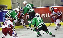 Tomaz Vnuk (24), Greger Artursson, Brian Felsner, Jaka Avgustincic and Philipp Pinter (85) at ice hockey match ZM Olimpija vs EC Red Bull Salzburg in second round of final of Ebel League (Erste Bank Eishockey Liga),  on March 16, 2008 in Arena Tivoli, Ljubljana, Slovenia. Salzburg won the game 3:1 and  leveled the series 1:1. Pho. (Photo by Vid Ponikvar / Sportal Images)