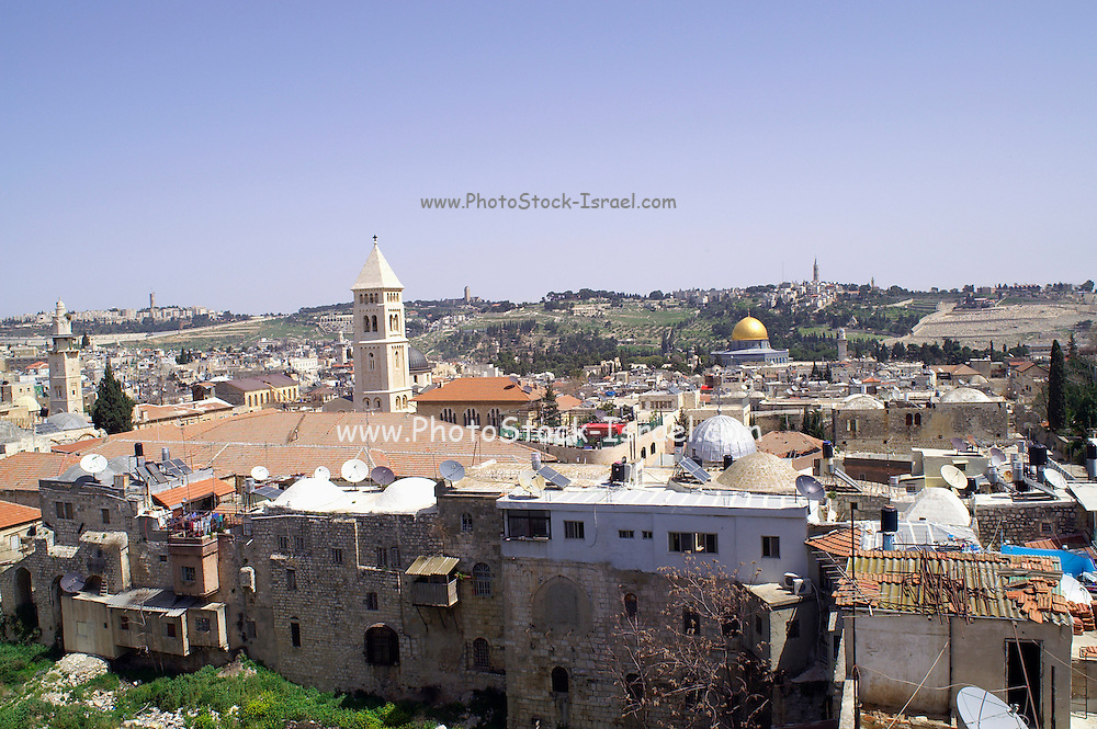 General view of the old city of Jerusalem with churches and the dome of the rock in the background