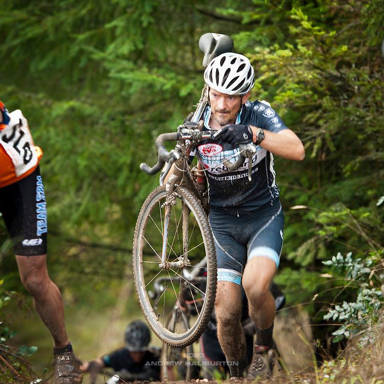 Rebound Tireless Velo team members at Race 6 of the Cyclocross Crusade Series at Barton Park, Oregon, 4 November 2012.