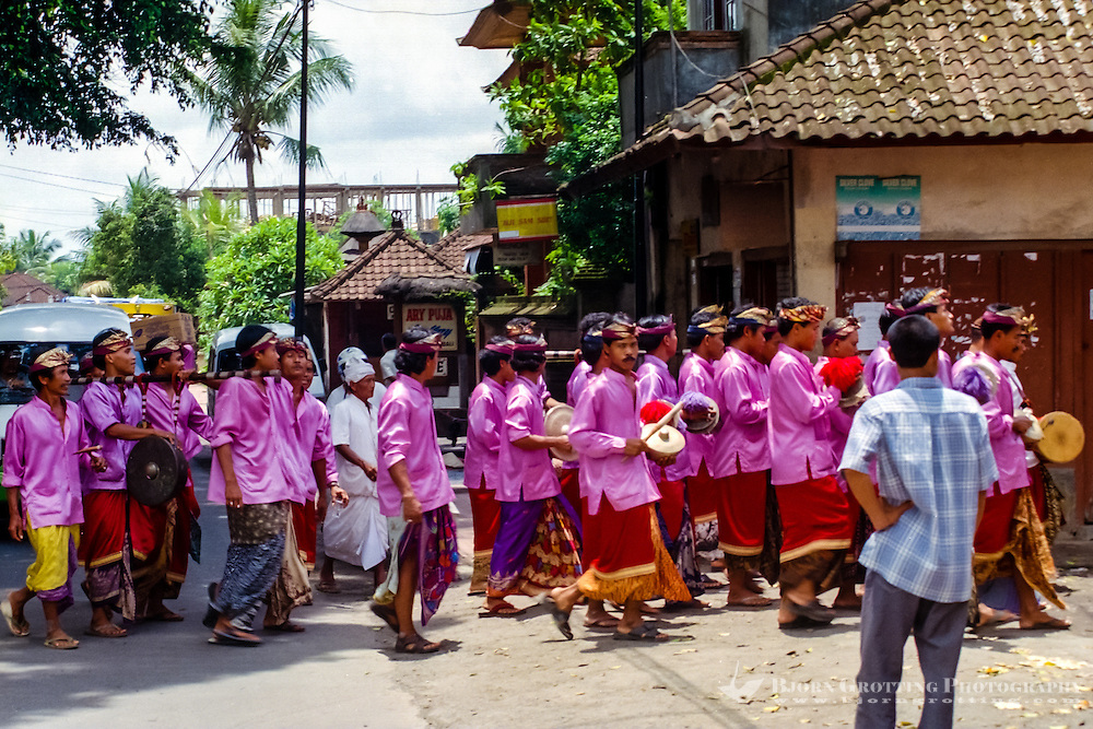 Bali, Gianyar, Mas. Hindu procession, no ceremony is complete without musicians.