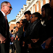 Oklahoma State University President Burns Hargis faces protest as he arrives in the morning in front of Whitehurst Hall in Stillwater, Oklahoma, Monday, January 23, 2017. The protest was organized after a second OSU blackface incident in a week. Hargis met with several students shortly after he arrived. Kurt Steiss/O'Colly