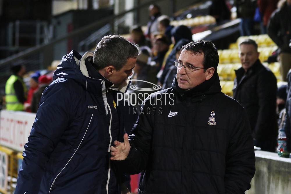 Michael Duff and  Gary Bowyer  during the EFL Sky Bet League 2 match between Bradford City and Cheltenham Town at the Utilita Energy Stadium, Bradford, England on 28 January 2020.