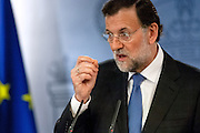 Mariano Rajoy speeches to press in a visit of Brazil's president Dilma Rousseff