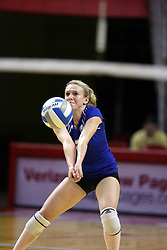 11 October 2008: Alana Wittenberg digs out a serve during a match between the Bulldogs of Drake University and the Redbirds of Illinois State University.  The Redbirds took the match against the Bulldogs 3 sets to none on Doug Collins Court inside Redbird Arena on the campus of Illinois State University in Normal Illinois.