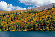 Summit Lake in autumn.<br /> Stone Mountain Provincial Park<br /> British Columbia<br /> Canada