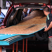 A rush for plywood at a local Home Depot as Floridians gather supplies Wednesday October 5, 2016, as they get ready for the arrival of Hurricane Matthew. Warnings are in place along much of Florida's Atlantic coastline, for Category 3 Hurricane Matthew.<br />