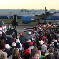 President Donald Trump speaks to area residents Monday afternoon at the Tupelo Regional Airport.
