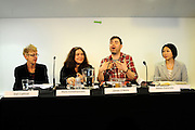 'Take Back Our World' Conference.<br /> Launch of the 'Global Justice Now' group, formally the 'World Development Movement'.<br /> 'Make it public: turning the tide on privatisation' session.<br /> L-R: Gail Cartmail, assistant general secretary of the trade union UNITE, Maria Kanellopoulou, from Save Greek Water, James O' Nions, Global Just activism team, and Satoko Kishimoto from the Transnational Institute.