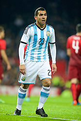 MANCHESTER, ENGLAND - Tuesday, November 18, 2014: Argentina's Carlos Tevez in action against Portugal during the International Friendly match at Old Trafford. (Pic by David Rawcliffe/Propaganda)