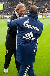 26.11.2011, Signal Iduna Park, Dortmund, GER, 1. FBL, Borussia Dortmund vs FC Schalke 04, im Bild Huub Stevens (Trainer Schalke) und Jürgen/ Juergen Klopp (Trainer Dortmund) vor dem Spiel // during Borussia Dortmund vs. FC Schalke 04 at Signal Iduna Park, Dortmund, GER, 2011-11-26. EXPA Pictures © 2011, PhotoCredit: EXPA/ nph/ Kurth..***** ATTENTION - OUT OF GER, CRO *****