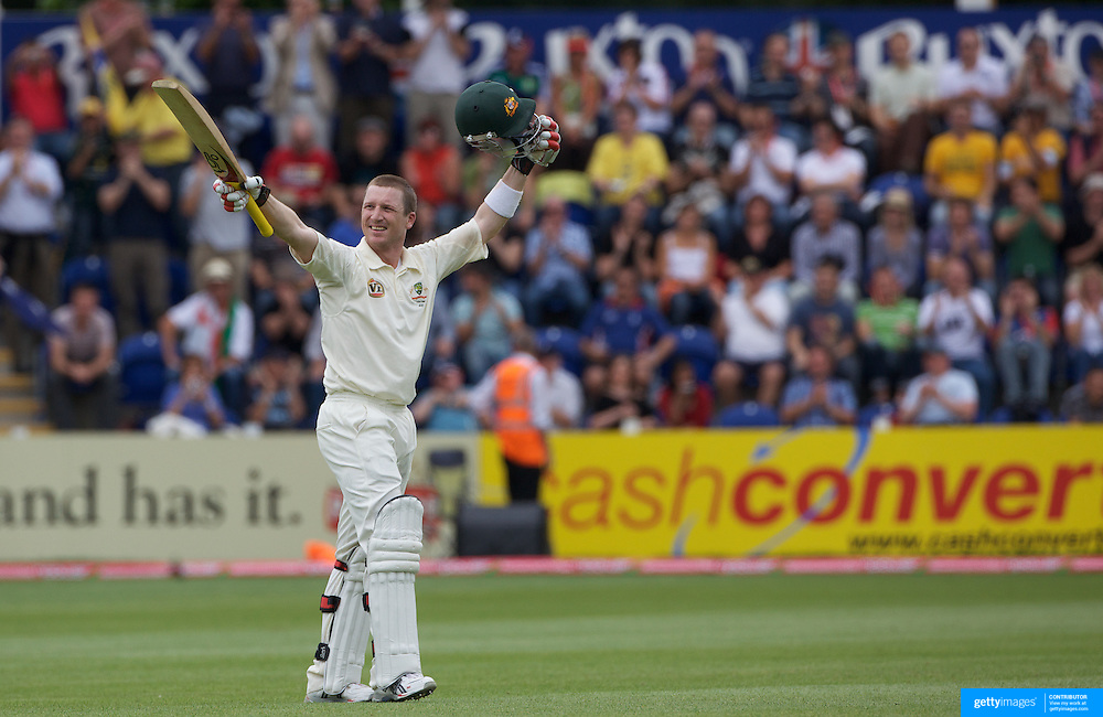 Brad Haddin celebrates his century during the England V Australia  Ashes Test series at Cardiff, Wales, on Saturday, July 11, 2009. Photo Tim Clayton.
