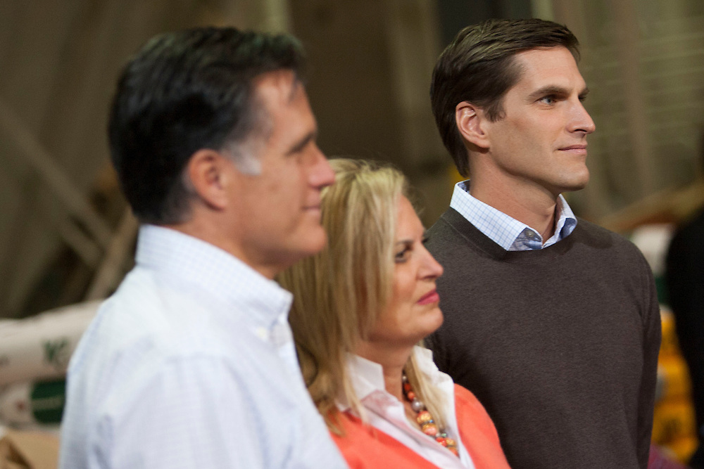 JOSH ROMNEY, wife and mother ANN ROMNEY, and Republican presidential candidate MITT ROMNEY campaign at the Diamond V plant to gain support in the Iowa Caucuses on Friday, December 9, 2011 in Cedar Rapids, Iowa.