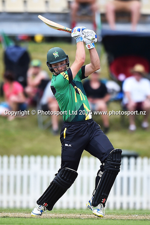 Stags player Dane Cleaver during their McDonalds Super Smash T20 match Central Stags v Wellington Firebirds. Saxton Oval, Nelson, New Zealand. Sunday 18 December 2016. ©Copyright Photo: Chris Symes / www.photosport.nz