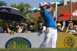 February 3, 2018 - Shah Alam, Kuala Lumpur, Malaysia - Hideto Tanihara is seen taking a shot from hole no 3 on day 3 at the Maybank Championship 2018...The Maybank Championship 2018 golf event is being hosted on 1st to 4th February at Saujana Golf & Country Club. (Credit Image: © Faris Hadziq/SOPA via ZUMA Wire)