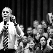 Candidate Barack Obama speaks at Indiana University in Bloomington, Indiana, April, 2008, during the presidential primary. Obama carried Indiana and defeated Hillary Clinton in the Democratic primary, and went on to become the nation's 44th president.