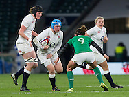 Rochelle Clark in action, England Women v Ireland Women in a 6 Nations match at Twickenham Stadium, Whitton Road, Twickenham, England, on 27th February 2016