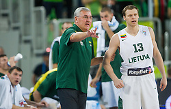 Jonas Kalauskas, head coach of Lithuania talks to Martynas Pocius #13 of Lithuania during basketball match between National teams of Lithuania and Croatia in Semifinals at Day 17 of Eurobasket 2013 on September 20, 2013 in Arena Stozice, Ljubljana, Slovenia. (Photo by Vid Ponikvar / Sportida.com)