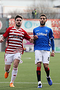 Hamilton Accademical forward George Oakley (9) and Rangers defender Connor Goldson (6) during the Ladbrokes Scottish Premiership match between Hamilton Academical FC and Rangers at New Douglas Park, Hamilton, Scotland on 24 February 2019.