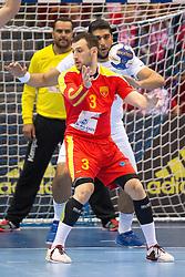 09.04.2016, Ergo Arena, Gdansk, POL, IHF Herren, Olympia Qualifikation, Mazedonien vs Tunesien, im Bild Dejan Manaskov, Mohamed Jilani Maaref, Marouen Maggaiz // during the IHF men's Olympic Games handball qualifier between Macedonia and Tunisia at the Ergo Arena in Gdansk, Poland on 2016/04/09. EXPA Pictures © 2016, PhotoCredit: EXPA/ Newspix/ Tomasz Zasinski<br /> <br /> *****ATTENTION - for AUT, SLO, CRO, SRB, BIH, MAZ, TUR, SUI, SWE only*****
