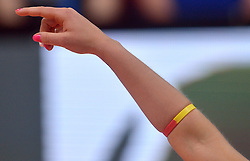 30-05-2015 CHE: Volley Masters Duitsland - Dominicaanse Republiek, Montreux<br /> Saskia Hippe, tattoo, nagels, item