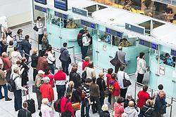 THEMENBILD - Airport Muenchen, Franz Josef Strauß (IATA: MUC, ICAO: EDDM), Der Flughafen Muenchen zählt zu den groessten Drehkreuzen Europas, rund 100 Fluggesellschaften verbinden ihn mit 230 Zielen in 70 Laendern, im Bild Passagiere warten bei der Passkontrolle // THEME IMAGE, FEATURE - Airport Munich, Franz Josef Strauss (IATA: MUC, ICAO: EDDM), The airport Munich is one of the largest hubs in Europe, approximately 100 airlines connect it to 230 destinations in 70 countries. picture shows: Passengers wait at passport control, Munich, Germany on 2012/05/06. EXPA Pictures © 2012, PhotoCredit: EXPA/ Juergen Feichter