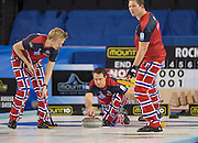 """Glasgow. SCOTLAND. Norway's Thomas ULSRUD, releases his """"Stone"""" during the  """"Semi Final"""" Norway vs Switzerland Game. Le Gruyère European Curling Championships. 2016 Venue, Braehead  Scotland<br /> Thursday  24/11/2016<br /> <br /> [Mandatory Credit; Peter Spurrier/Intersport-images]"""