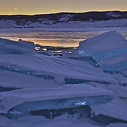 Ice slabs along Bear Lake Utah