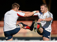 13 June 2013; Sean O'Brien, right, and Dan Lydiate, British & Irish Lions, during forwards training ahead of their game against NSW Waratahs on Saturday. British & Irish Lions Tour 2013, Forwards Training, North Sydney Oval, Sydney, New South Wales, Australia. Picture credit: Stephen McCarthy / SPORTSFILE