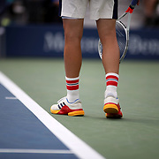 2017 U.S. Open Tennis Tournament - DAY SIX. Dominic Thiem of Austria wearing socks with Austrian colors during his match against Adrian Mannarino of France during the Men's Singles round three match at the US Open Tennis Tournament at the USTA Billie Jean King National Tennis Center on September 02, 2017 in Flushing, Queens, New York City.  (Photo by Tim Clayton/Corbis via Getty Images)