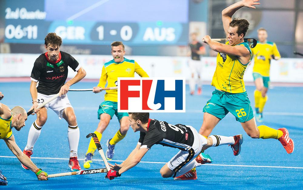 BHUBANESWAR - The Odisha Men's Hockey World League Final . Match ID 05 . Germany  v Australia . Johannes Grosse (Ger) stopped by Dylan Wotherspoon (Aus) .  WORLDSPORTPICS COPYRIGHT  KOEN SUYK