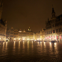 The Grote-Markt on an overcast night in Brussels.