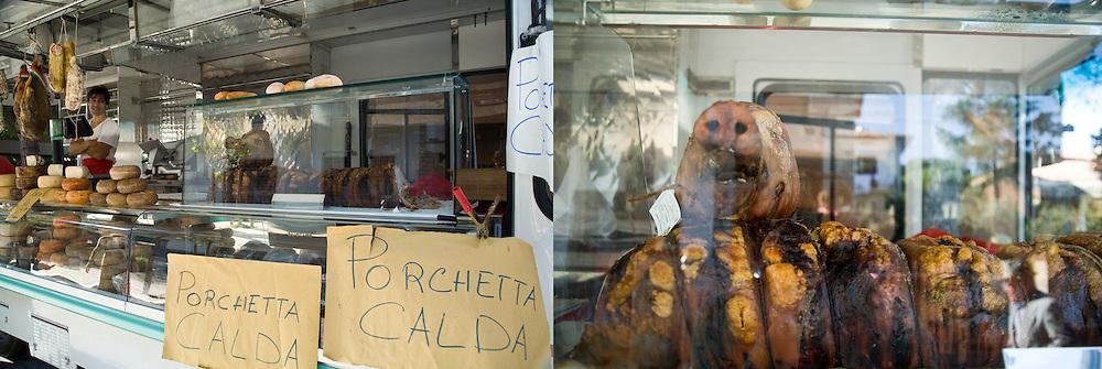 Porchetta Calda, Market Day . Camucino, Italy