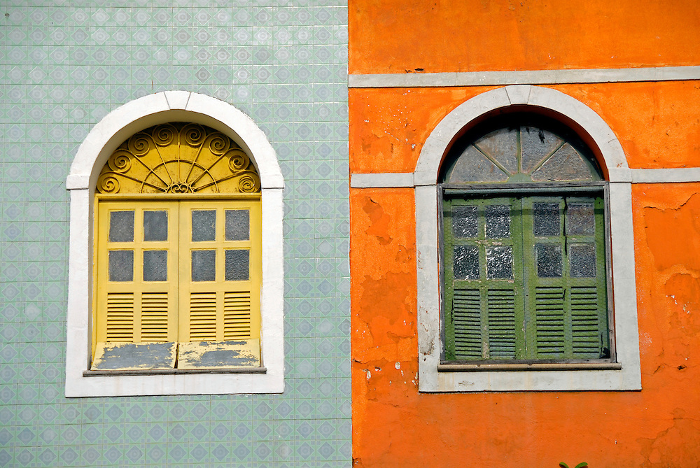 Windows in the historical center of São Luis, Maranhão state, Brazil.