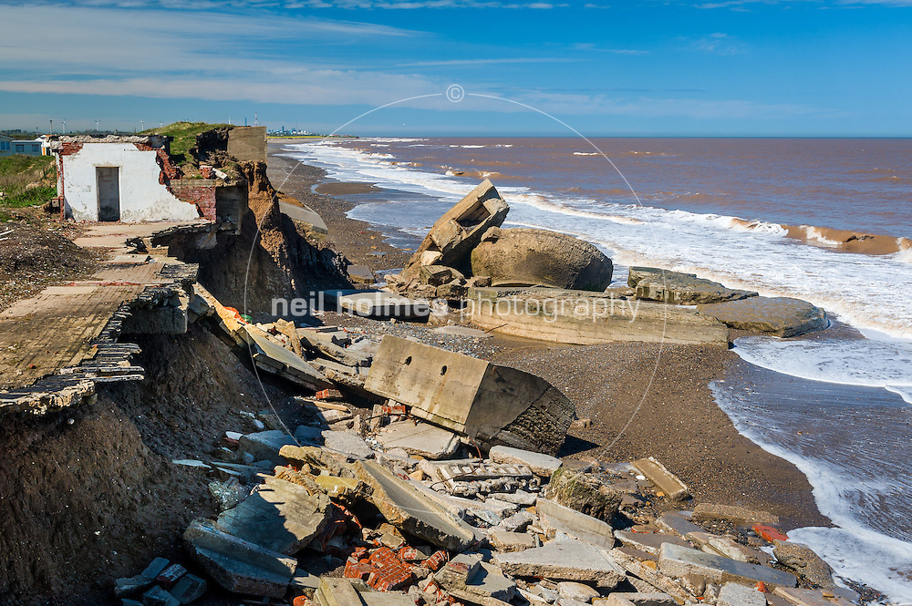 Kilnsea is situated on the Holderness coast, a few miles south of Hornsea. Hornsea is protected by sea defences but the surrounding un protected clay cliffs are part of the fastest eroding coastline in the UK, the clay cliffs are eroding at an average of 2.1 meters a year