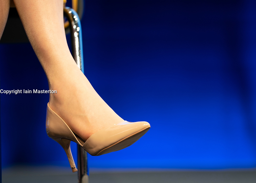 Edinburgh, Scotland, UK. 27 April, 2019. SNP ( Scottish National Party) Spring Conference takes place at the EICC ( Edinburgh International Conference Centre) in Edinburgh. Pictured; detail of First Minister Nicola Sturgeon's high heeled shoe