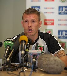 PODGORICA, MONTENEGRO - Thursday, September 2, 2010: Wales' captain Craig Bellamy during a press conference at the Hotel Podgorica ahead of the UEFA Euro 2012 Qualifying Group 4 match against Montenegro. (Pic by David Rawcliffe/Propaganda)
