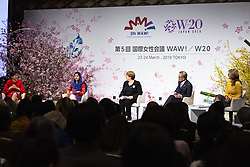 March 23, 2019 - Tokyo, Japan - Nobel Peace Prize laureate Malala Yousafzai (2nd L) and Michelle Bachelet (C) United Nations High Commissioner for Human Rights and former President of Chile, speak during the 5th World Assembly for Women (WAW!) in Tokyo. This year the WAW! in collaboration with the Women 20 (W20), one of the G20 engagement groups established to make recommendations to G20, invited female leaders from politics, business and society to discuss the roles of women in their countries and affiliations. The event is held from March 23 to 24 at the Hotel New Otani Tokyo. (Credit Image: © Rodrigo Reyes Marin/ZUMA Wire)