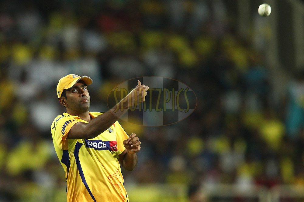 Ravichandran Ashwin of The Chennai Super Kings during match 21 of the Pepsi Indian Premier League Season 2014 between the Chennai Superkings and the Kolkata Knight Riders  held at the JSCA International Cricket Stadium, Ranch, India on the 2nd May  2014<br /> <br /> Photo by Shaun Roy / IPL / SPORTZPICS<br /> <br /> <br /> <br /> Image use subject to terms and conditions which can be found here:  http://sportzpics.photoshelter.com/gallery/Pepsi-IPL-Image-terms-and-conditions/G00004VW1IVJ.gB0/C0000TScjhBM6ikg