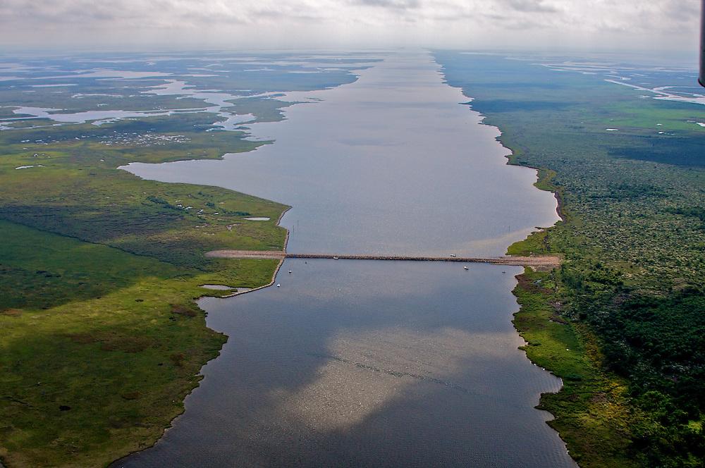 MRGO and Rock Dam at Bayou la Loutre Louisiana
