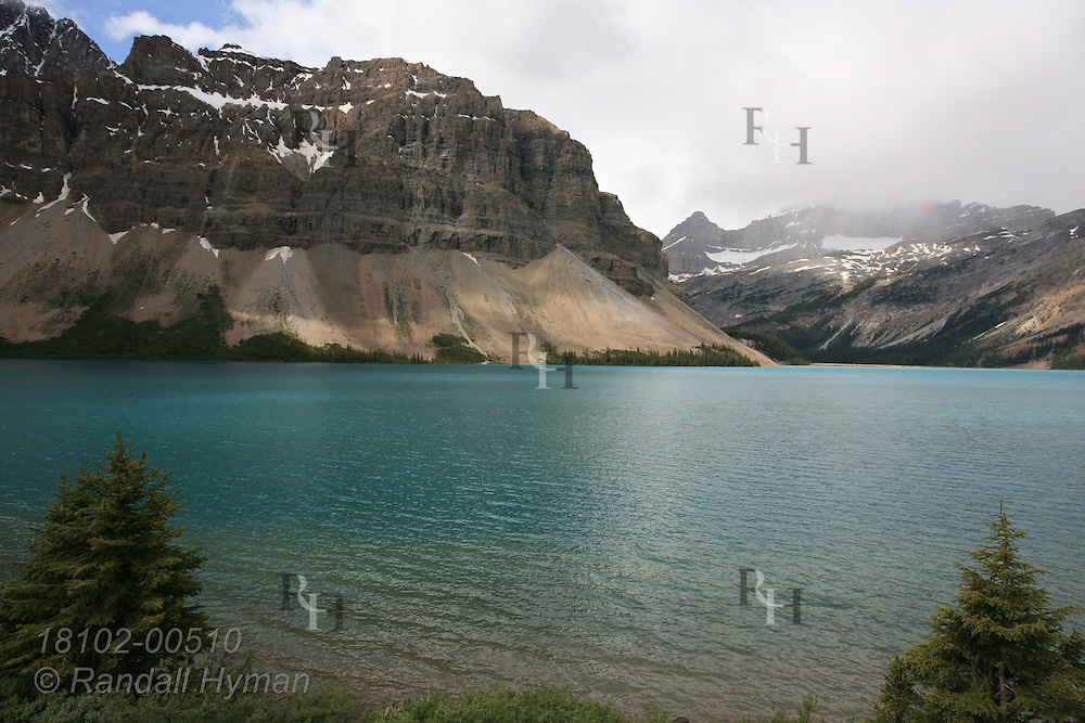 Bow Lake in Banff National Park in the Canadian Rockies of Alberta, Canada.
