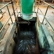 February 19, 2015 - New York, NY : Deep under ground, raw sewage enters the Newtown Creek Wastewater Treatment Plant. The city is calling for new regulations on wet wipes which have come to constitute the vast majority of solid waste entering the city's sewage treatment system.  CREDIT: Karsten Moran for The New York Times
